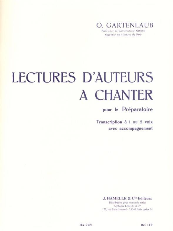 Lectures D'Auteurs A Chanter Preparatoire 1 Ou 2 Voix Avec Accompagnement