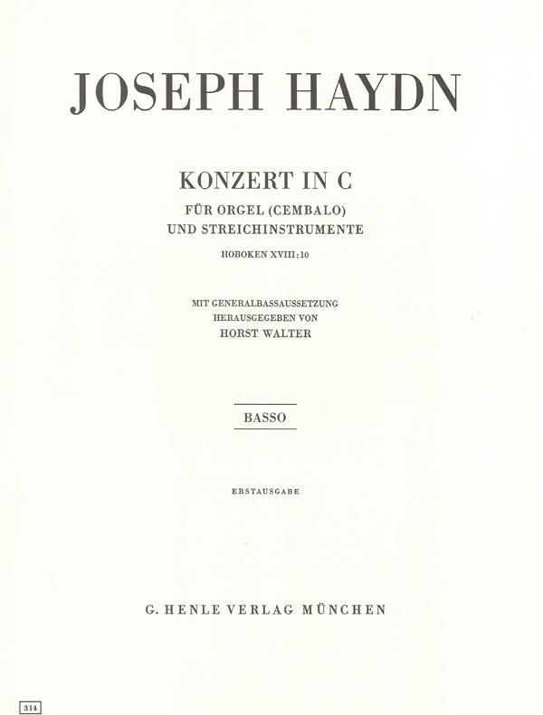 Concerto For Organ (Harpsichord) With String Instruments C Major Hob. XVIII:10 (First Edition)