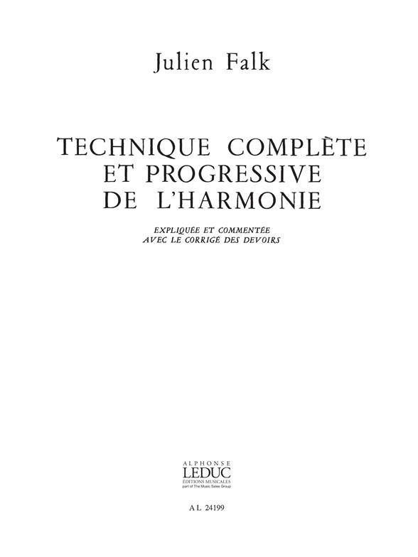 Technique Complete Et Progressive De L'Harmonie : Corrige Des Devoirs