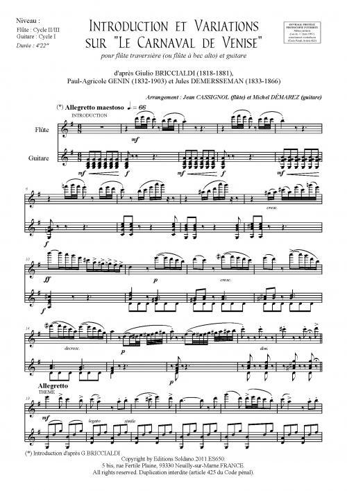 Introduction Et Variations Sur Lecarnaval De Venise